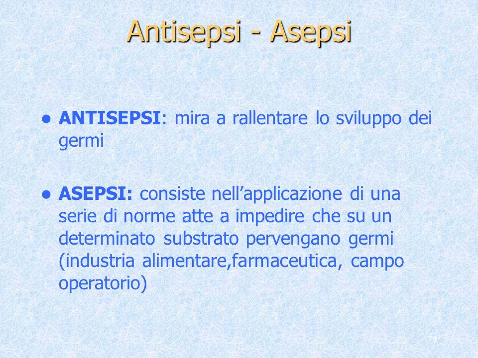 74 Antisepsi - Asepsi ANTISEPSI: mira a rallentare lo sviluppo dei germi ASEPSI: consiste nellapplicazione di una serie di norme atte a impedire che s