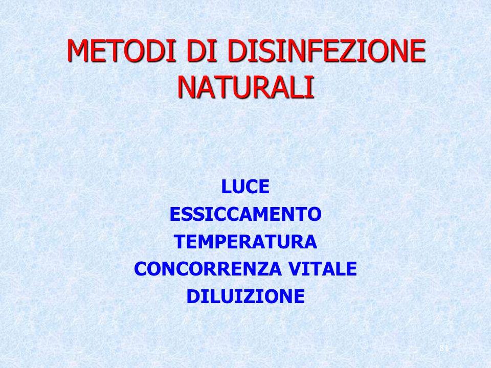 81 METODI DI DISINFEZIONE NATURALI LUCE ESSICCAMENTO TEMPERATURA CONCORRENZA VITALE DILUIZIONE