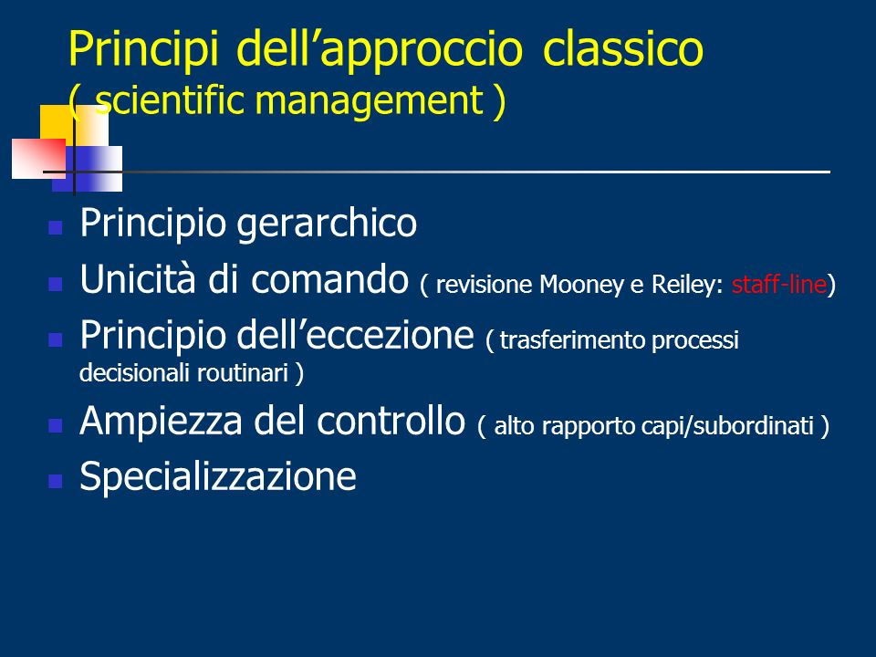 Principi dellapproccio classico ( scientific management ) Principio gerarchico Unicità di comando ( revisione Mooney e Reiley: staff-line) Principio d