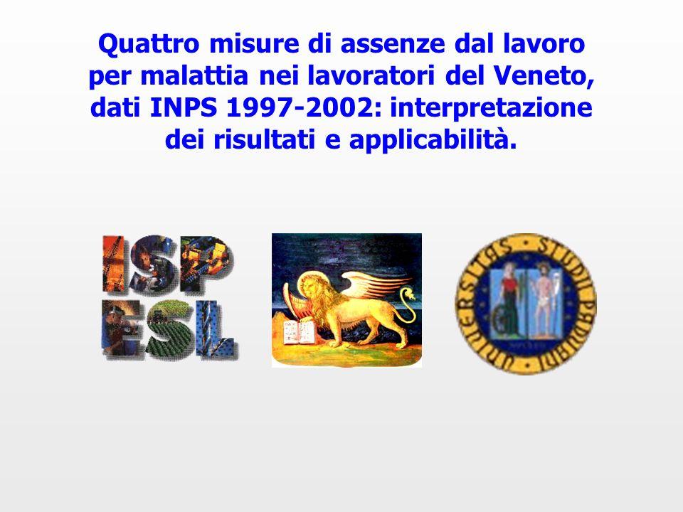 Quattro misure di assenze dal lavoro per malattia nei lavoratori del Veneto, dati INPS 1997-2002: interpretazione dei risultati e applicabilità.
