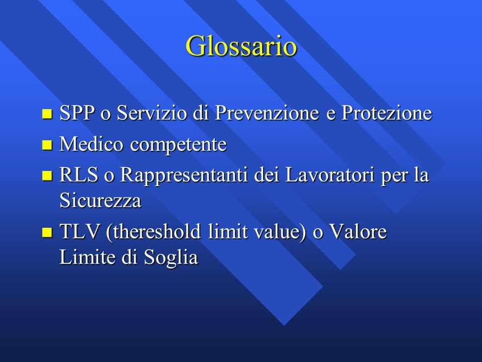 Glossario n SPP o Servizio di Prevenzione e Protezione n Medico competente n RLS o Rappresentanti dei Lavoratori per la Sicurezza n TLV (thereshold li