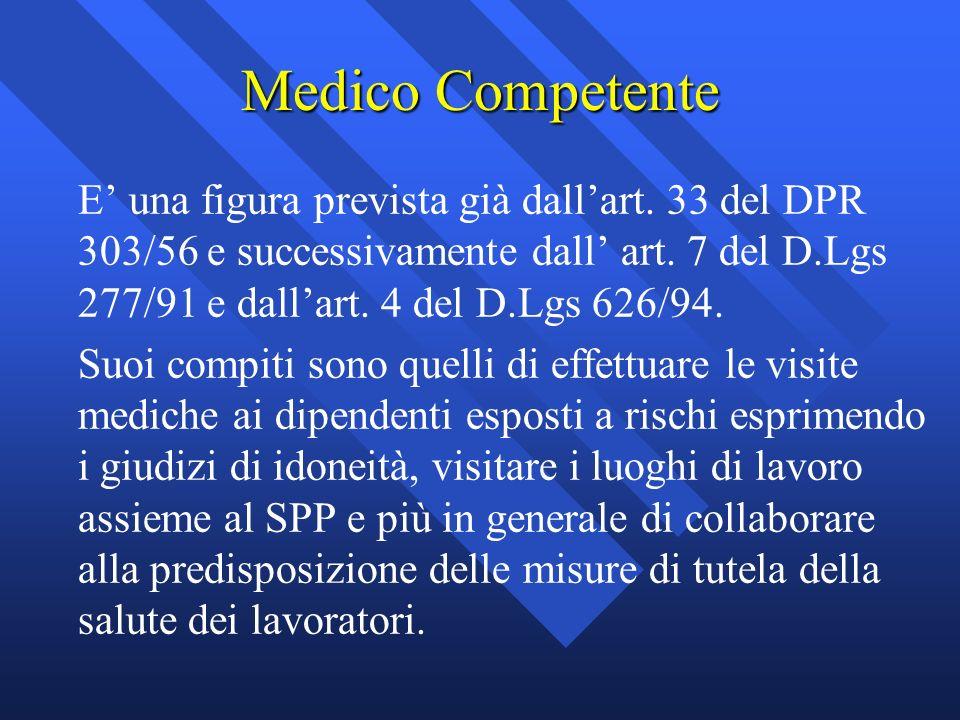 Medico Competente E una figura prevista già dallart. 33 del DPR 303/56 e successivamente dall art. 7 del D.Lgs 277/91 e dallart. 4 del D.Lgs 626/94. S