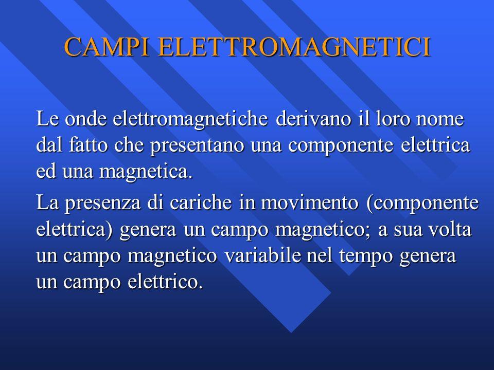 CAMPI ELETTROMAGNETICI Le onde elettromagnetiche derivano il loro nome dal fatto che presentano una componente elettrica ed una magnetica. La presenza