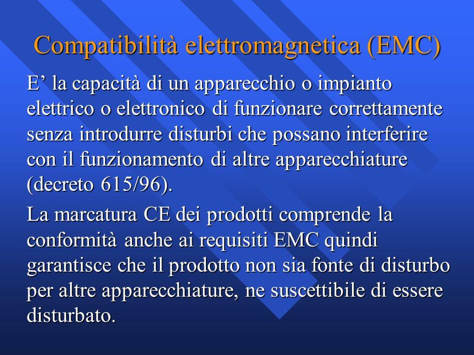 Compatibilità elettromagnetica (EMC) E la capacità di un apparecchio o impianto elettrico o elettronico di funzionare correttamente senza introdurre d