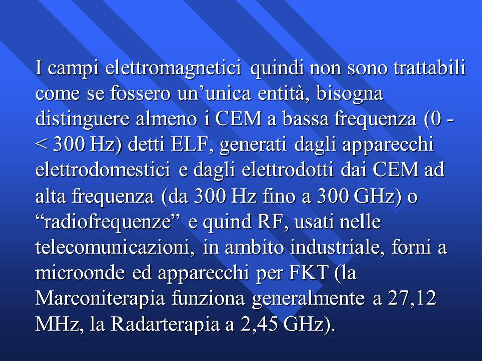 I campi elettromagnetici quindi non sono trattabili come se fossero ununica entità, bisogna distinguere almeno i CEM a bassa frequenza (0 - < 300 Hz)