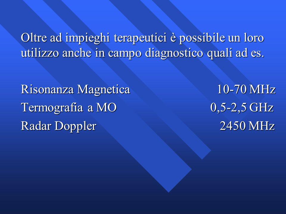 Oltre ad impieghi terapeutici è possibile un loro utilizzo anche in campo diagnostico quali ad es. Risonanza Magnetica 10-70 MHz Termografia a MO0,5-2