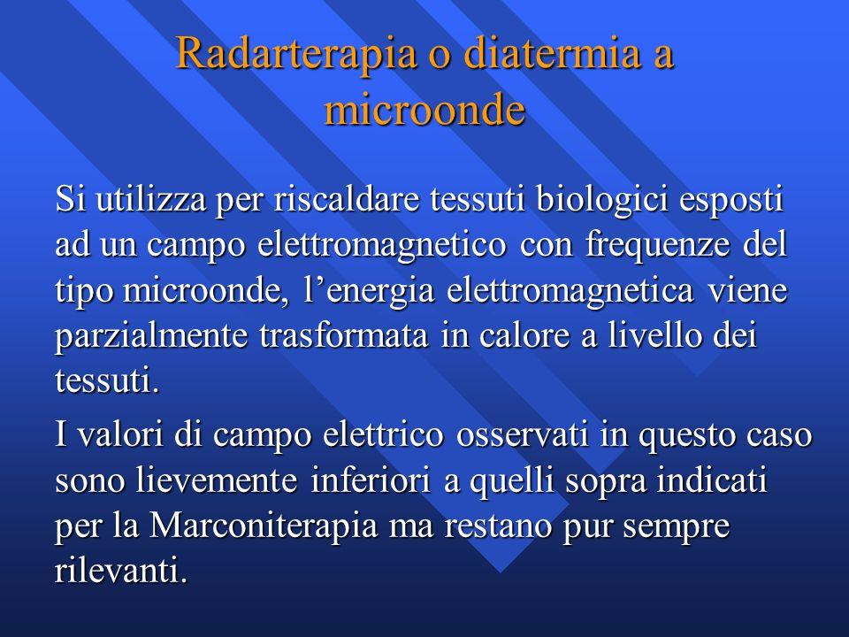 Radarterapia o diatermia a microonde Si utilizza per riscaldare tessuti biologici esposti ad un campo elettromagnetico con frequenze del tipo microond