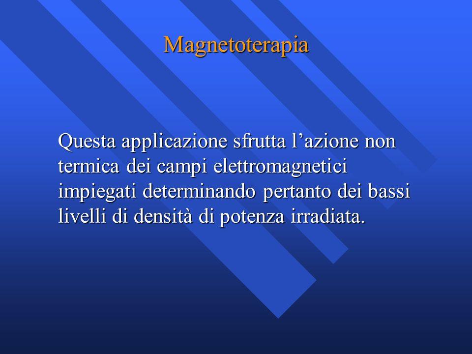 Magnetoterapia Questa applicazione sfrutta lazione non termica dei campi elettromagnetici impiegati determinando pertanto dei bassi livelli di densità