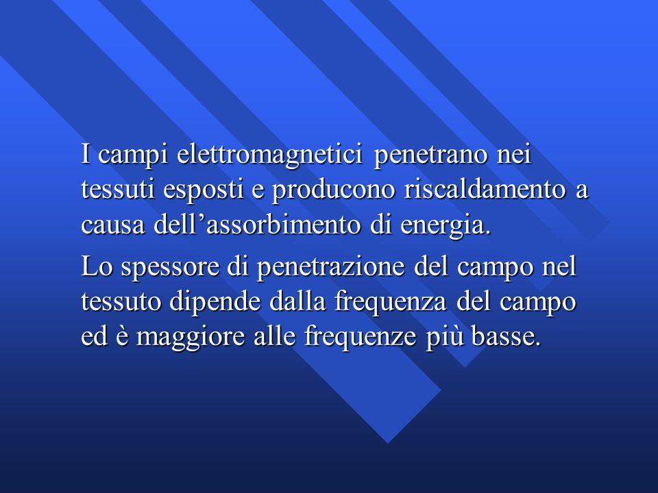 I campi elettromagnetici penetrano nei tessuti esposti e producono riscaldamento a causa dellassorbimento di energia. Lo spessore di penetrazione del
