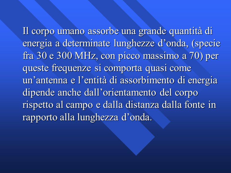 Il corpo umano assorbe una grande quantità di energia a determinate lunghezze donda, (specie fra 30 e 300 MHz, con picco massimo a 70) per queste freq