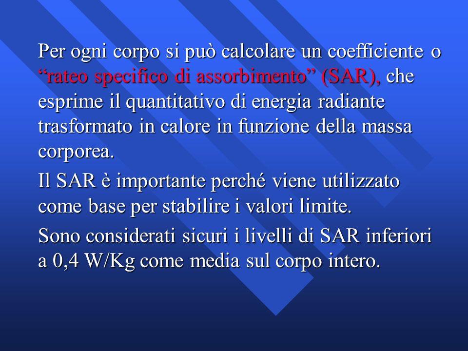 Per ogni corpo si può calcolare un coefficiente o rateo specifico di assorbimento (SAR), che esprime il quantitativo di energia radiante trasformato i
