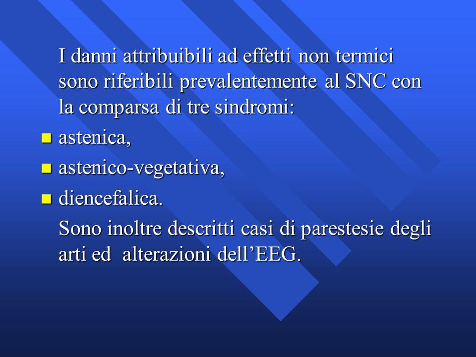 I danni attribuibili ad effetti non termici sono riferibili prevalentemente al SNC con la comparsa di tre sindromi: n astenica, n astenico-vegetativa,