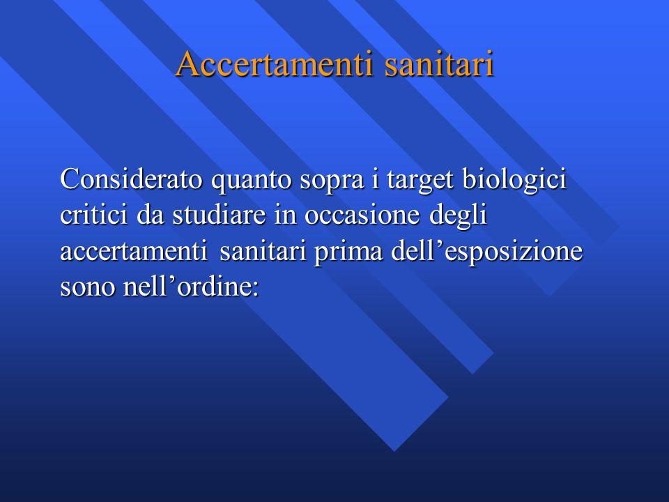 Accertamenti sanitari Considerato quanto sopra i target biologici critici da studiare in occasione degli accertamenti sanitari prima dellesposizione s