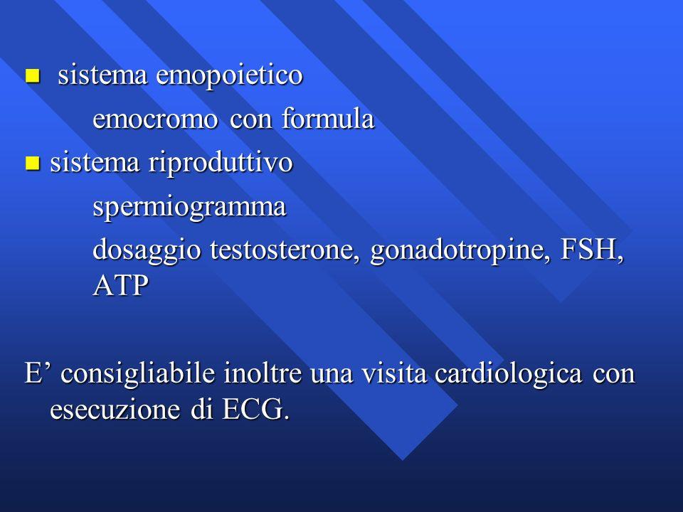 n sistema emopoietico emocromo con formula n sistema riproduttivo spermiogramma dosaggio testosterone, gonadotropine, FSH, ATP E consigliabile inoltre