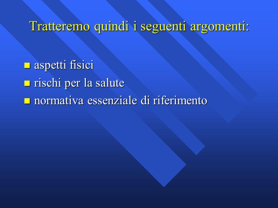 Tratteremo quindi i seguenti argomenti: n aspetti fisici n rischi per la salute n normativa essenziale di riferimento
