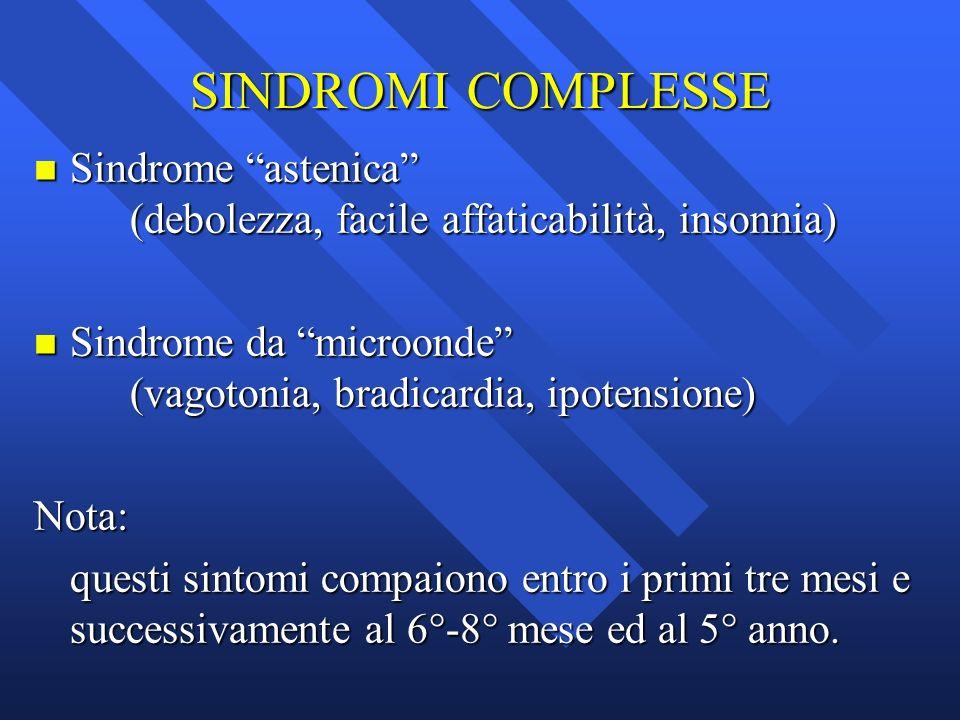 SINDROMI COMPLESSE n Sindrome astenica (debolezza, facile affaticabilità, insonnia) n Sindrome da microonde (vagotonia, bradicardia, ipotensione) Nota