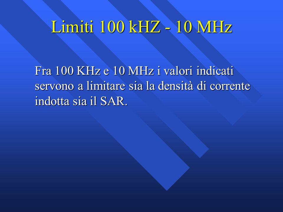 Limiti 100 kHZ - 10 MHz Fra 100 KHz e 10 MHz i valori indicati servono a limitare sia la densità di corrente indotta sia il SAR.