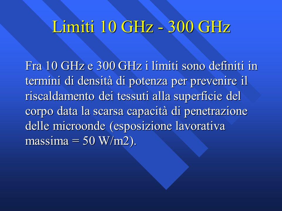 Limiti 10 GHz - 300 GHz Fra 10 GHz e 300 GHz i limiti sono definiti in termini di densità di potenza per prevenire il riscaldamento dei tessuti alla s