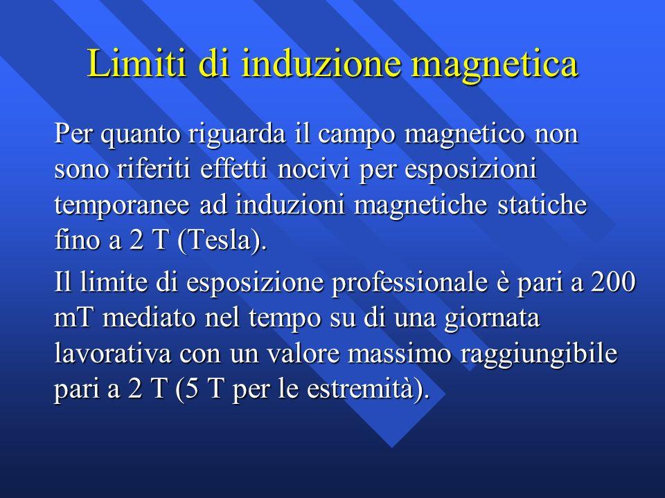 Limiti di induzione magnetica Per quanto riguarda il campo magnetico non sono riferiti effetti nocivi per esposizioni temporanee ad induzioni magnetic