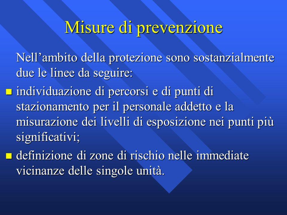 Misure di prevenzione Nellambito della protezione sono sostanzialmente due le linee da seguire: n individuazione di percorsi e di punti di stazionamen