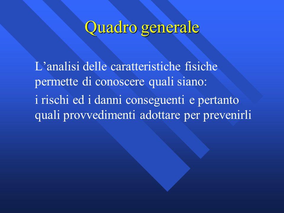 Quadro generale Lanalisi delle caratteristiche fisiche permette di conoscere quali siano: i rischi ed i danni conseguenti e pertanto quali provvedimen