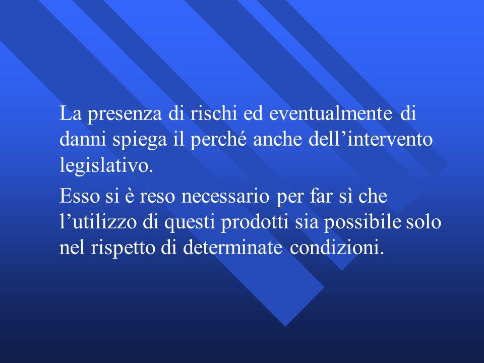 La presenza di rischi ed eventualmente di danni spiega il perché anche dellintervento legislativo. Esso si è reso necessario per far sì che lutilizzo