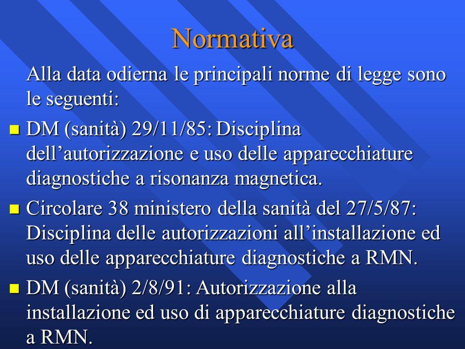 Normativa Alla data odierna le principali norme di legge sono le seguenti: n DM (sanità) 29/11/85: Disciplina dellautorizzazione e uso delle apparecch