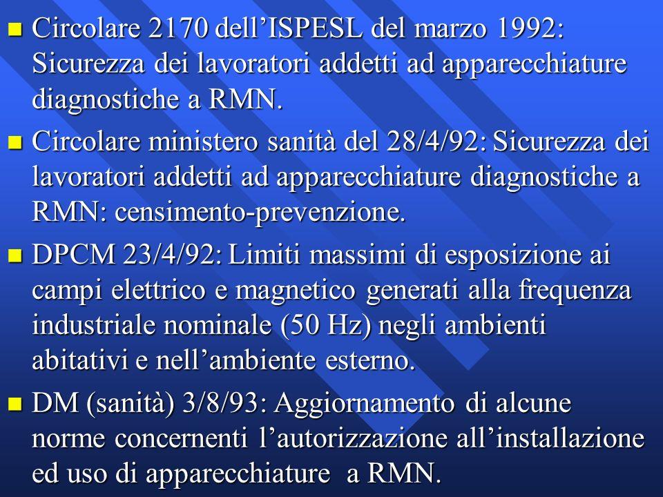 n Circolare 2170 dellISPESL del marzo 1992: Sicurezza dei lavoratori addetti ad apparecchiature diagnostiche a RMN. n Circolare ministero sanità del 2