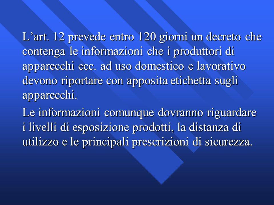 Lart. 12 prevede entro 120 giorni un decreto che contenga le informazioni che i produttori di apparecchi ecc. ad uso domestico e lavorativo devono rip