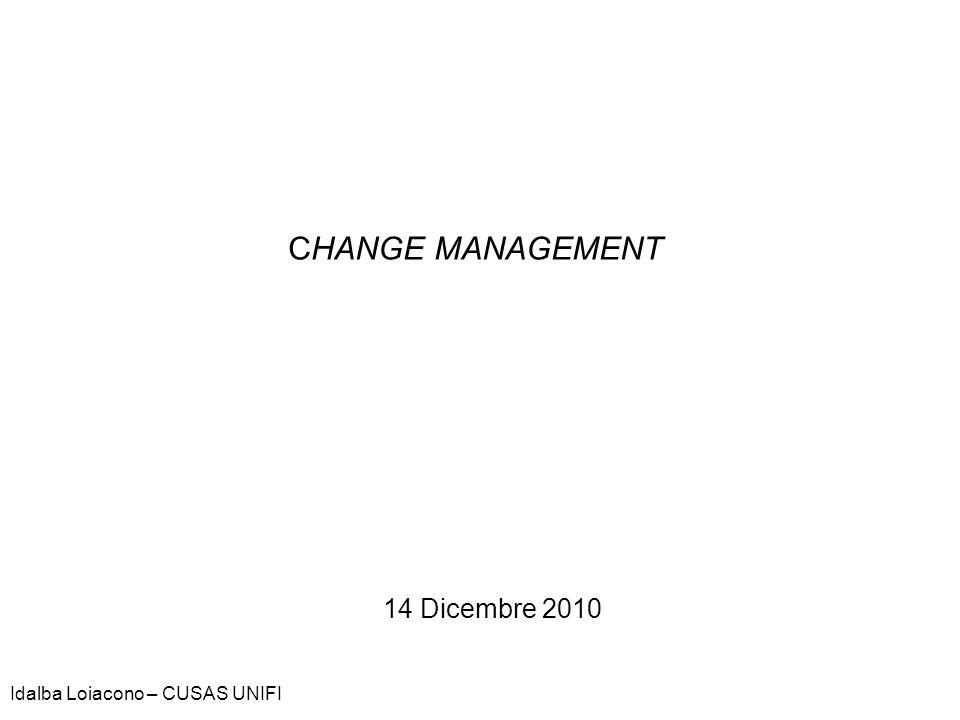 CHANGE MANAGEMENT 14 Dicembre 2010 Idalba Loiacono – CUSAS UNIFI