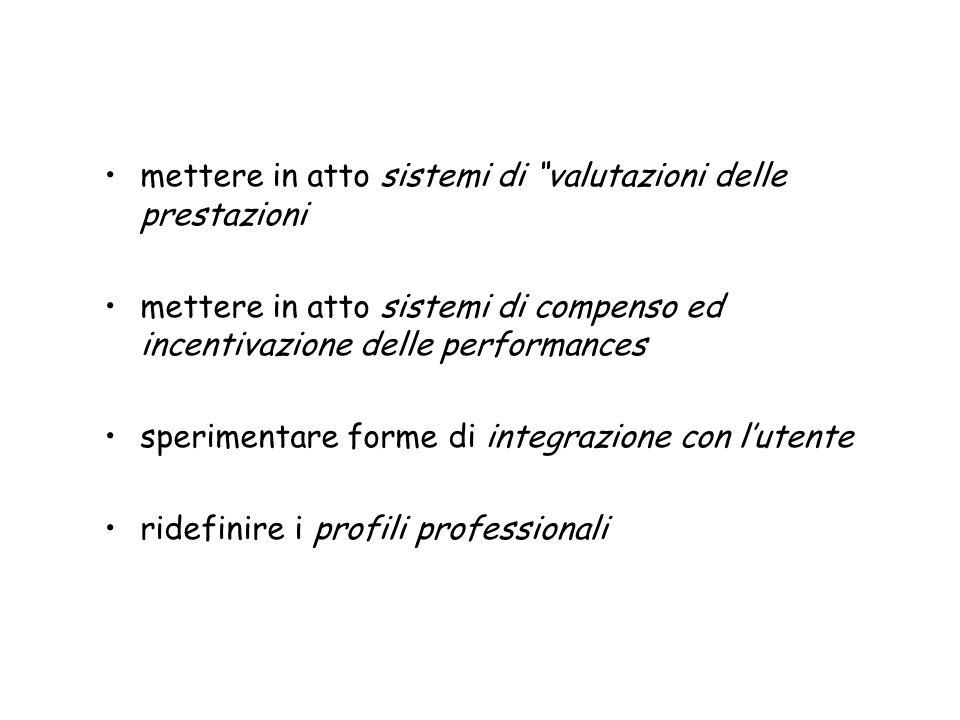 mettere in atto sistemi di valutazioni delle prestazioni mettere in atto sistemi di compenso ed incentivazione delle performances sperimentare forme d