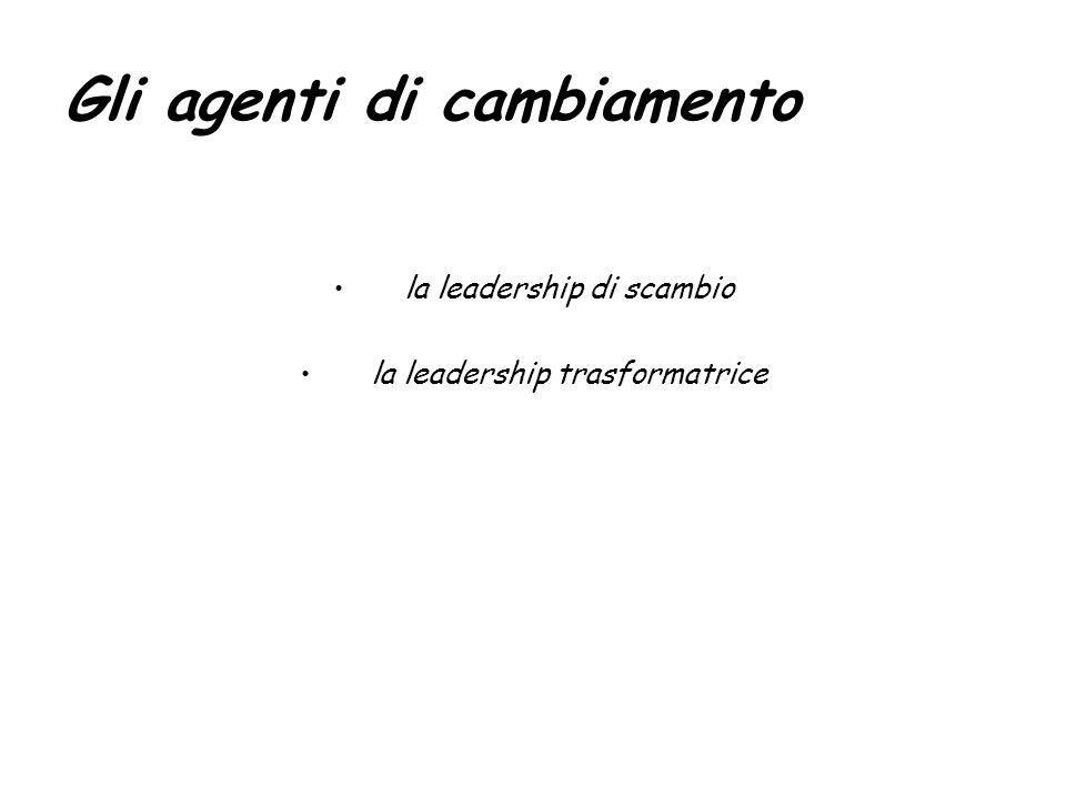 Gli agenti di cambiamento la leadership di scambio la leadership trasformatrice