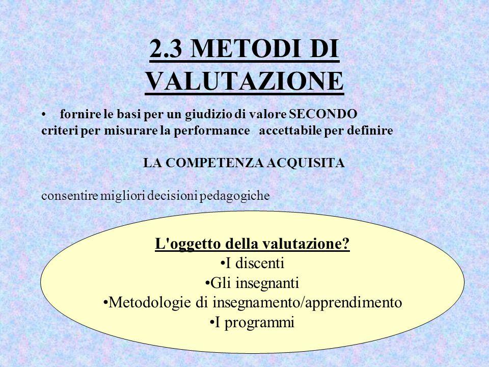 2.3 METODI DI VALUTAZIONE fornire le basi per un giudizio di valore SECONDO criteri per misurare la performance accettabile per definire LA COMPETENZA