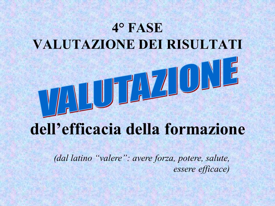4° FASE VALUTAZIONE DEI RISULTATI dellefficacia della formazione (dal latino valere: avere forza, potere, salute, essere efficace)
