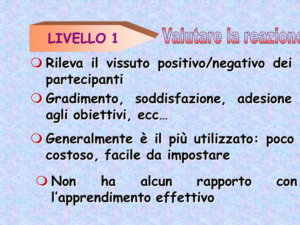 LIVELLO 1 Non ha alcun rapporto con lapprendimento effettivo Rileva il vissuto positivo/negativo dei partecipanti Gradimento, soddisfazione, adesione