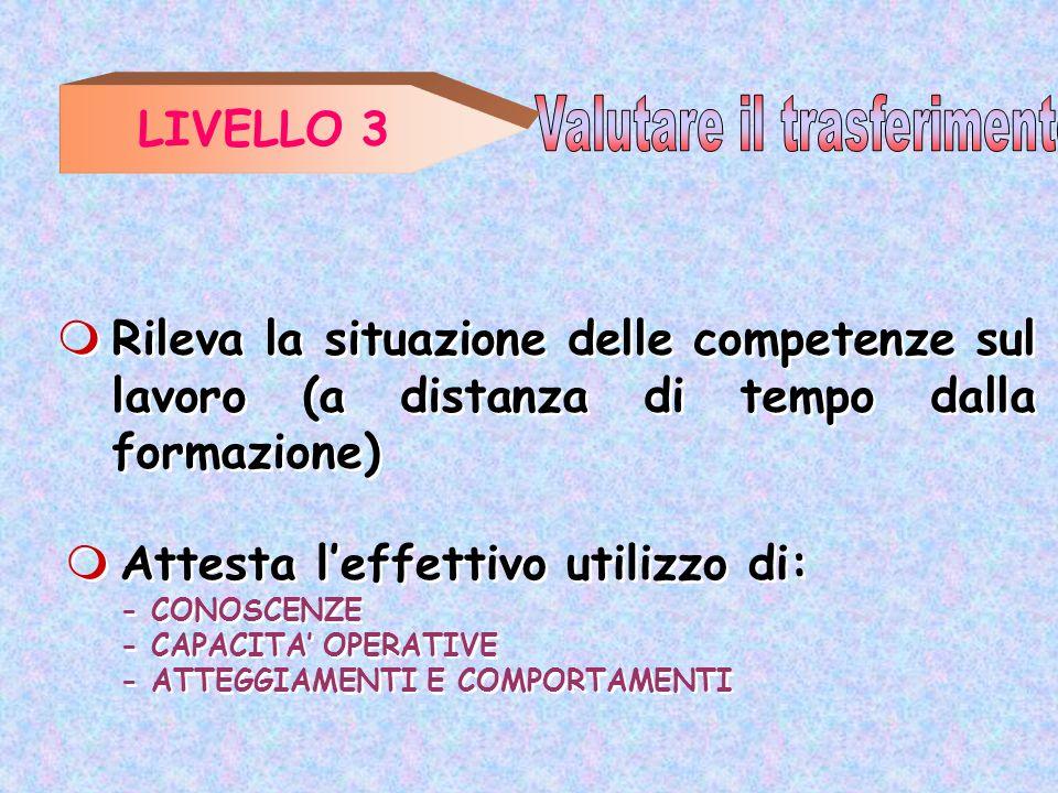 LIVELLO 3 Attesta leffettivo utilizzo di: - CONOSCENZE - CAPACITA OPERATIVE - ATTEGGIAMENTI E COMPORTAMENTI Attesta leffettivo utilizzo di: - CONOSCEN