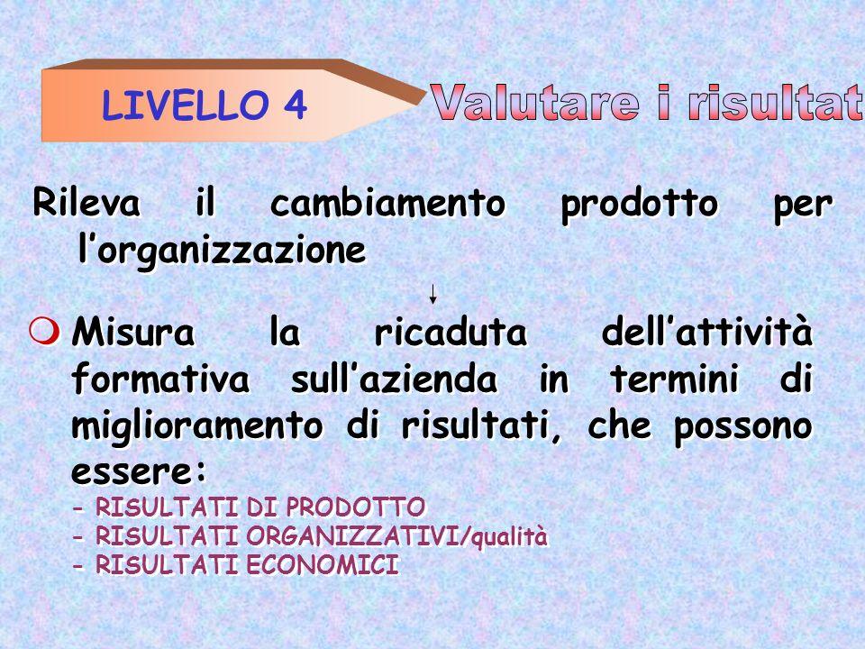 LIVELLO 4 Rileva il cambiamento prodotto per lorganizzazione Misura la ricaduta dellattività formativa sullazienda in termini di miglioramento di risu