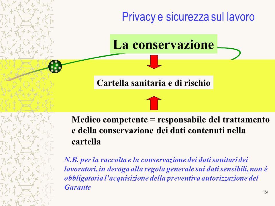 19 Privacy e sicurezza sul lavoro La conservazione Cartella sanitaria e di rischio Medico competente = responsabile del trattamento e della conservazione dei dati contenuti nella cartella N.B.