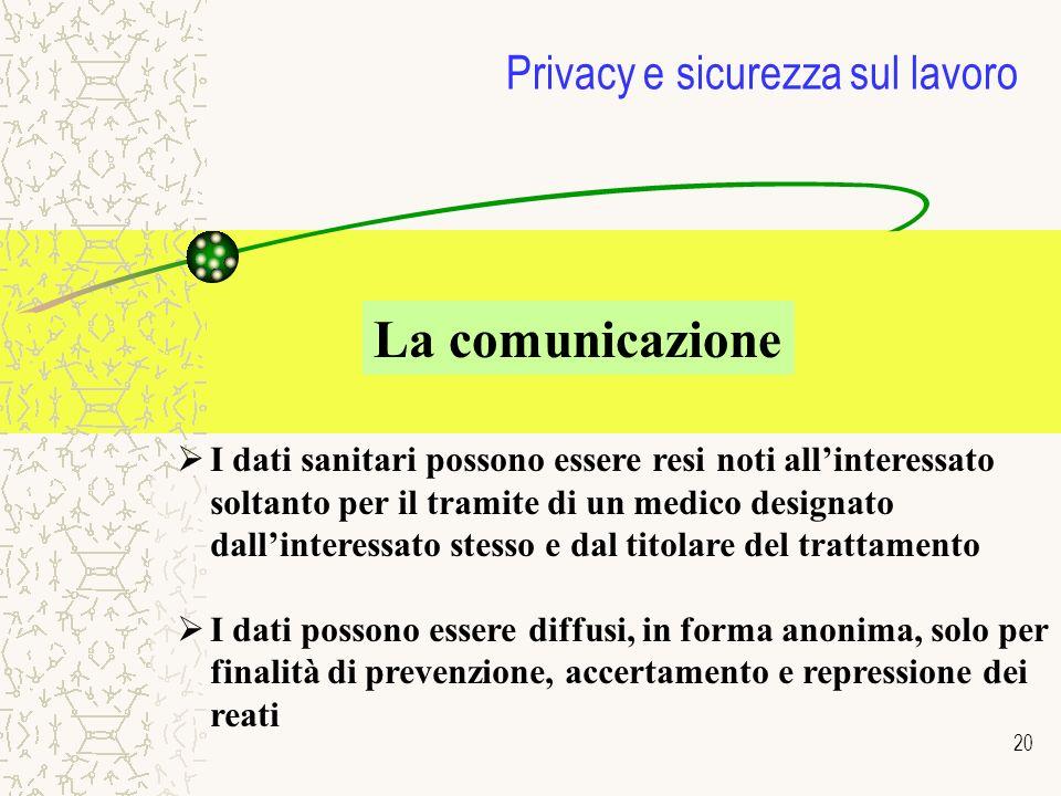 20 Privacy e sicurezza sul lavoro La comunicazione I dati sanitari possono essere resi noti allinteressato soltanto per il tramite di un medico design