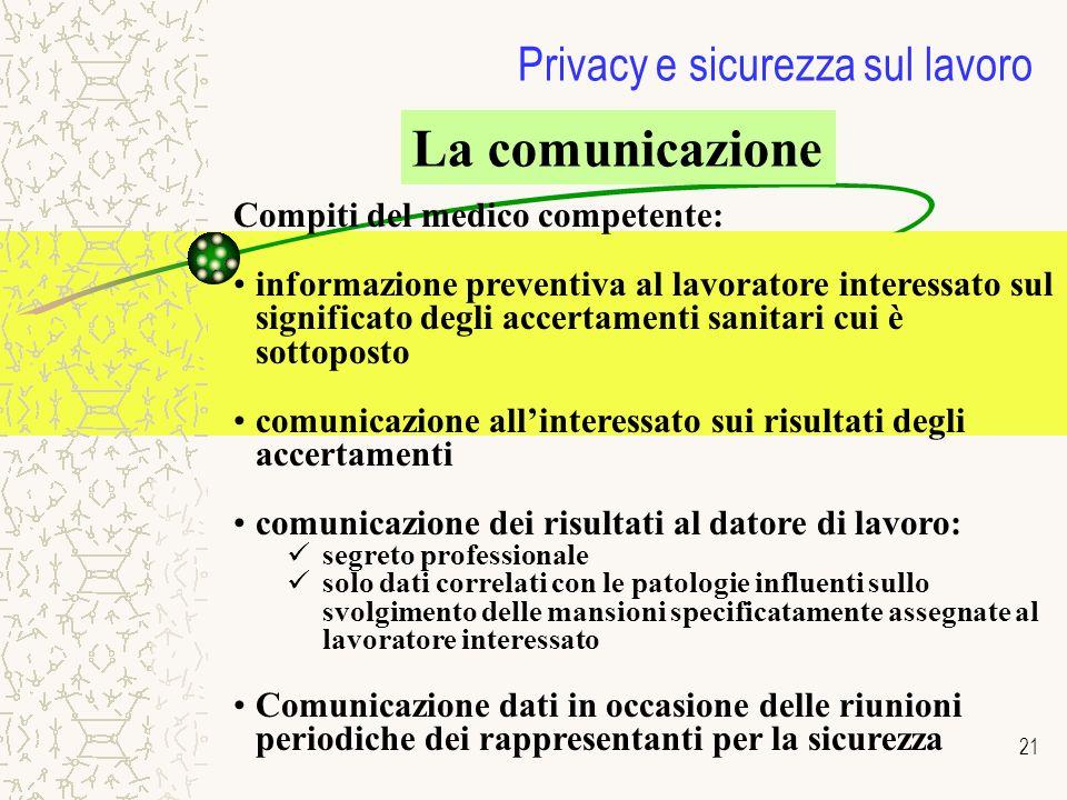 21 Privacy e sicurezza sul lavoro La comunicazione Compiti del medico competente: informazione preventiva al lavoratore interessato sul significato de