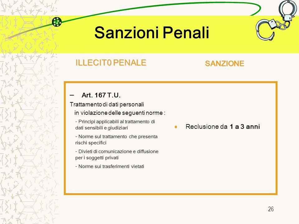 26 Sanzioni Penali Reclusione da 1 a 3 anni - Principi applicabili al trattamento di dati sensibili e giudiziari - Norme sul trattamento che presenta