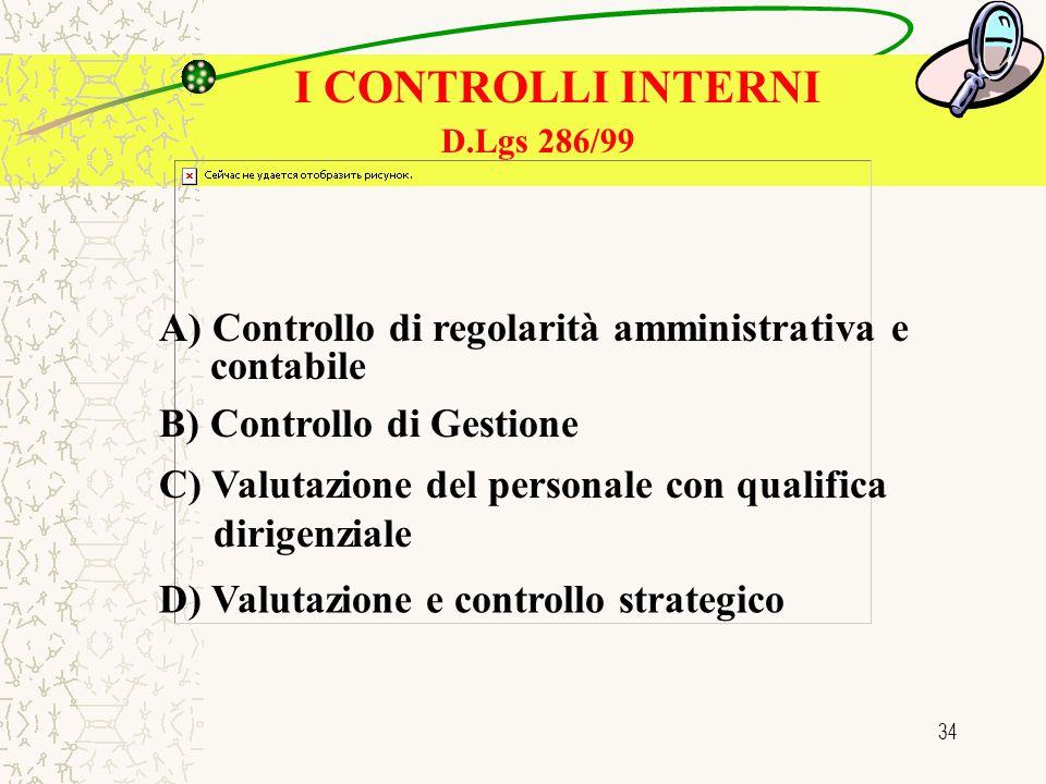 34 I CONTROLLI INTERNI A) Controllo di regolarità amministrativa e contabile B) Controllo di Gestione C) Valutazione del personale con qualifica dirigenziale D) Valutazione e controllo strategico D.Lgs 286/99