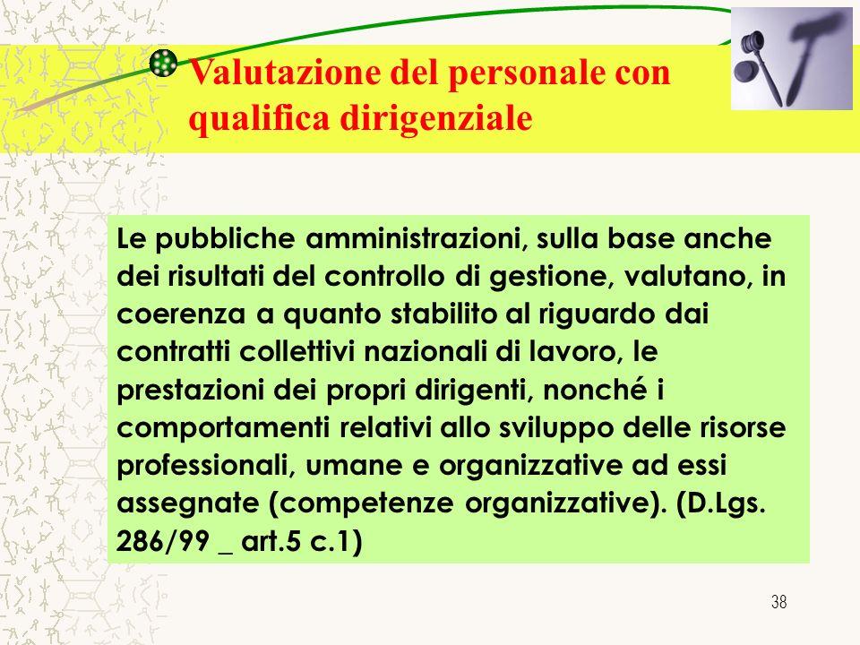 38 Valutazione del personale con qualifica dirigenziale Le pubbliche amministrazioni, sulla base anche dei risultati del controllo di gestione, valuta