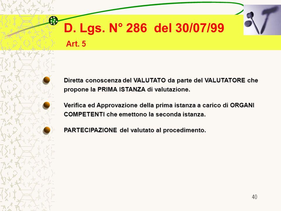 40 D. Lgs. N° 286 del 30/07/99 Diretta conoscenza del VALUTATO da parte del VALUTATORE che propone la PRIMA ISTANZA di valutazione. Verifica ed Approv