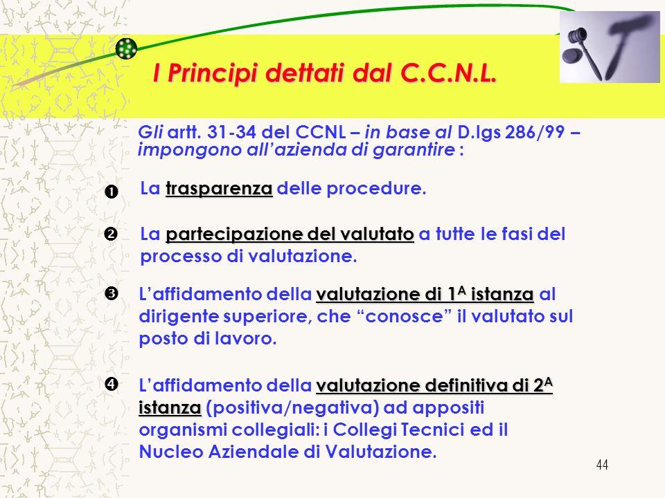 44 Gli artt. 31-34 del CCNL – in base al D.lgs 286/99 – impongono allazienda di garantire : trasparenza La trasparenza delle procedure. partecipazione