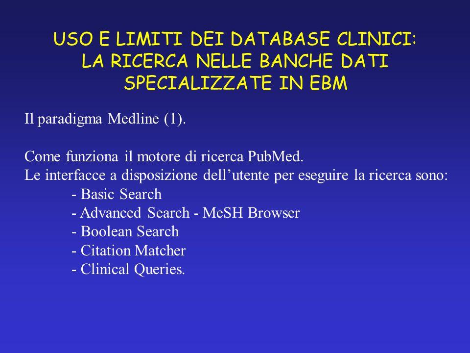 USO E LIMITI DEI DATABASE CLINICI: LA RICERCA NELLE BANCHE DATI SPECIALIZZATE IN EBM Il paradigma Medline (1).