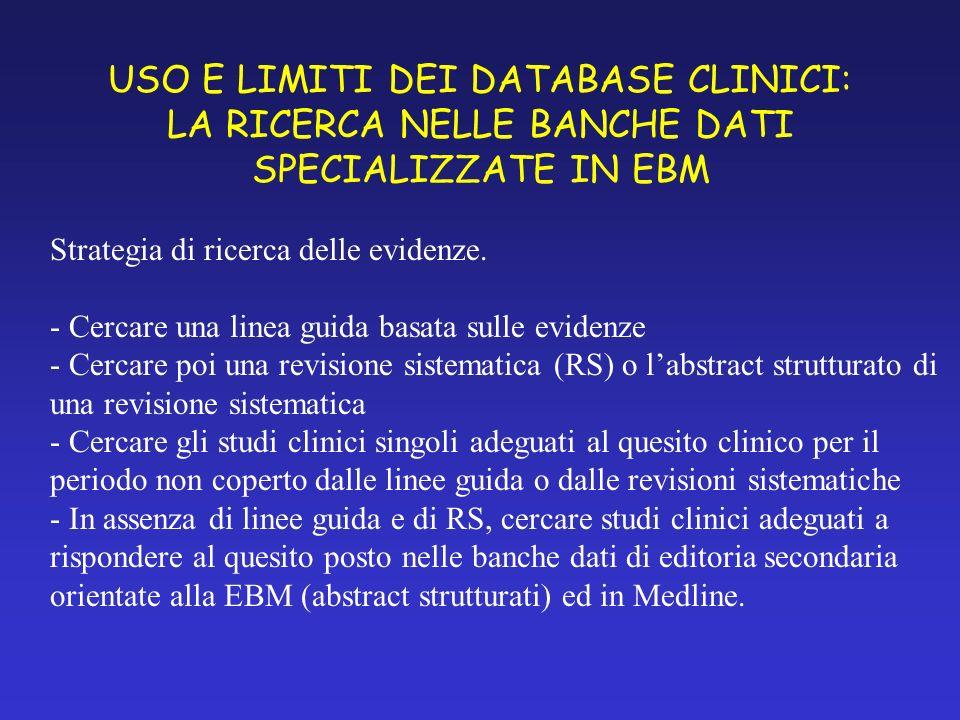 USO E LIMITI DEI DATABASE CLINICI: LA RICERCA NELLE BANCHE DATI SPECIALIZZATE IN EBM Strategia di ricerca delle evidenze.