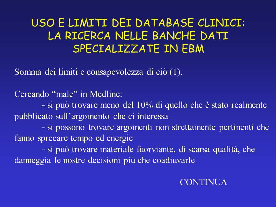 USO E LIMITI DEI DATABASE CLINICI: LA RICERCA NELLE BANCHE DATI SPECIALIZZATE IN EBM Somma dei limiti e consapevolezza di ciò (1).