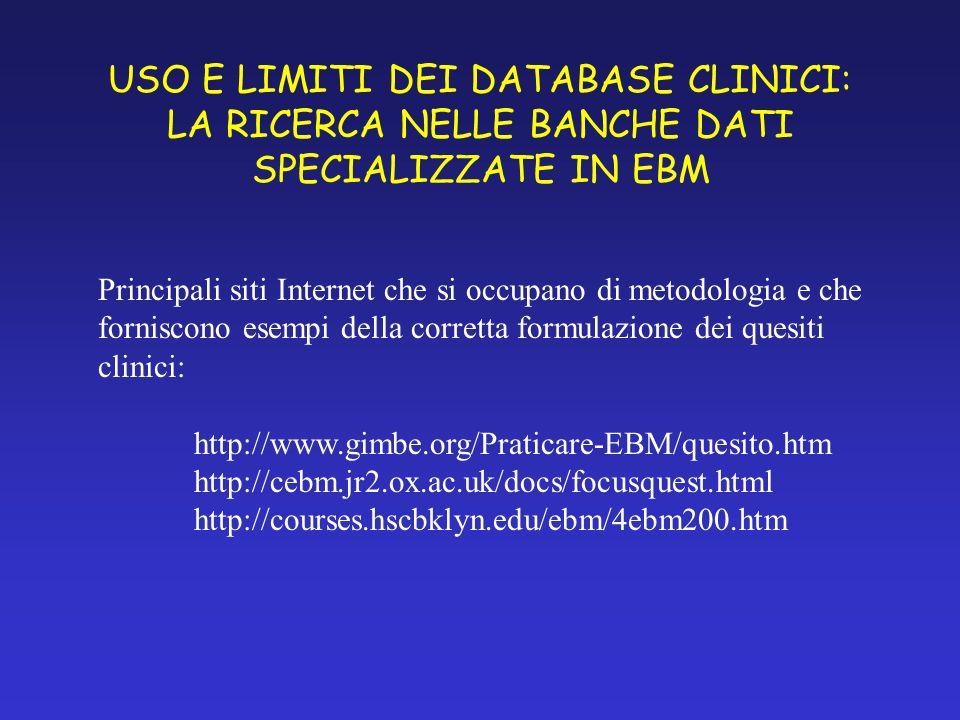 USO E LIMITI DEI DATABASE CLINICI: LA RICERCA NELLE BANCHE DATI SPECIALIZZATE IN EBM Principali siti Internet che si occupano di metodologia e che forniscono esempi della corretta formulazione dei quesiti clinici: http://www.gimbe.org/Praticare-EBM/quesito.htm http://cebm.jr2.ox.ac.uk/docs/focusquest.html http://courses.hscbklyn.edu/ebm/4ebm200.htm