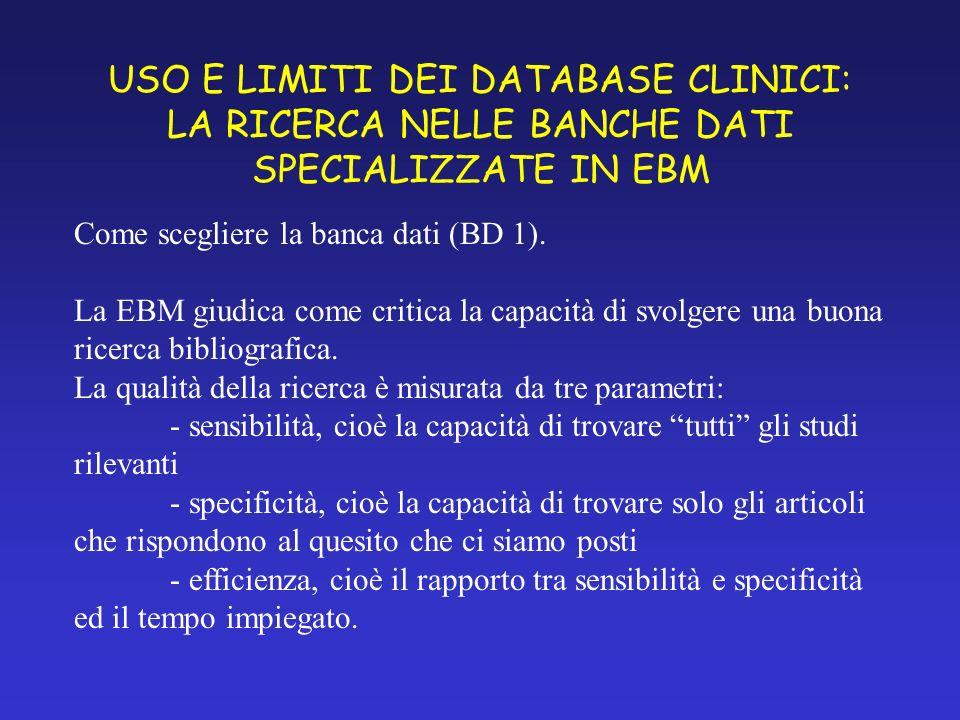 USO E LIMITI DEI DATABASE CLINICI: LA RICERCA NELLE BANCHE DATI SPECIALIZZATE IN EBM Come scegliere la banca dati (BD 1).
